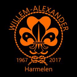Logo Scoutinggroep Willem-Alexander Harmelen 50 jaar